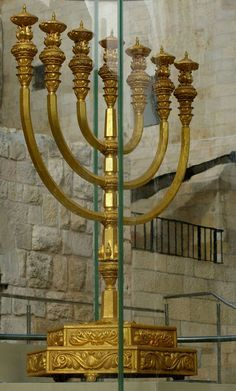 Golden Memorah. Solid gold located at one of the stairs that go down to the Wailing Wall. Jerusalem, ISRAEL. (by stratton)