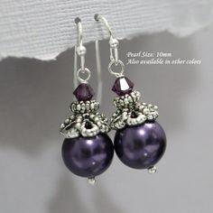 Dark Purple Earrings, Dark Purple Earrings, Plum Purple Bridesmaid  Earrings, Maid of Honor Gift, Bridesmaid Gift, Eggplant Purple Earrings
