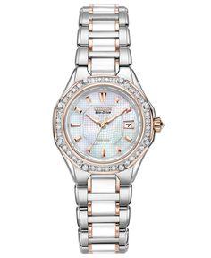 Citizen Watch, Women's Eco-Drive Signature Diamond (3/8 ct. t.w.) Ceramic Two Tone Stainless Steel Bracelet 29mm EW2196-52D - Citizen - Jewelry & Watches - Macy's