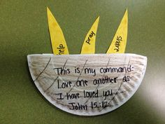 Basket of grain for the story of Ruth - write ways kids can show God's love to others - pray, love, care, share, help, etc.