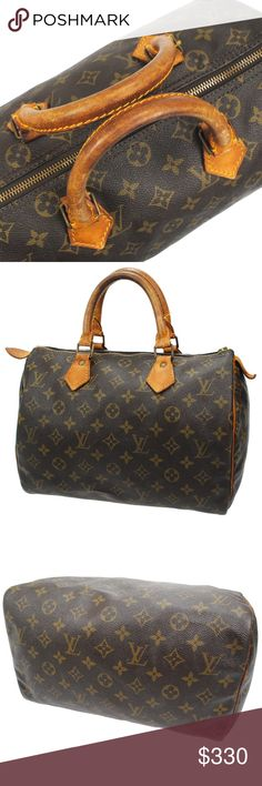 Authentic Speedy 30 Monogram Satchel This stylish medium sized tote is finely crafted of signature monogram. The bag features vachetta cowhide rolled leather top handles, trim, and polished brass hardware. The top zipper opens to a complimentary cocoa brown fabric interior. This is a classic handbag that is ideal for everyday with the luxury and style, from Louis Vuitton! Hardware tarnished, Leather aging, hardware tarnish, zipper pull missing. 8' by 12'. Louis Vuitton Bags Satchels