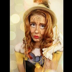 Pinocchio halloween makeup looks, disney halloween makeup looks for women, doll halloween makeup ideas for women Disney Halloween Makeup, Disney Makeup, Halloween Makeup Looks, Halloween Kostüm, Halloween Cosplay, Couple Halloween, Pinocchio, Disney Cosplay, Disney Costumes