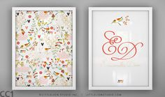 Birds print set wall art custom name monogram by LeoLittleLion