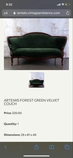 Berry Wedding, Velvet Couch, Green Velvet, Bench, Lounge, Furniture, Home Decor, Chair, Velvet Sofa