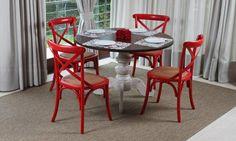Conjunto para Sala de Jantar com Mesa Cassia e 4 Cadeiras X Vermelho/Marrom/Branco - Acasa lojas KD
