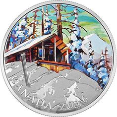 Fine Silver Coloured Coin – Canadian Landscape Series: Ski Chalet – Mintage: Canadian Coins, Ski Chalet, Flower Stamp, Rare Coins, Silver Coins, Mint Coins, Coin Collecting, Winter Scenes, Skiing