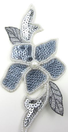 """Flower MultiColored Grey Flat Sequins with Beads and Pearl 3"""" x 5.5"""""""