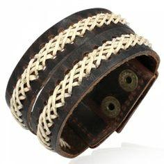 Brede leren armband L533   LEREN (surf) ARMBANDEN   Sieraad bijoux online - Idhuna Jewels
