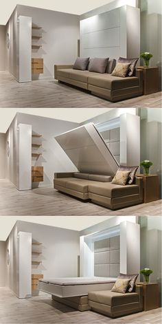 #SleepingWall More Space for #living!!  www.lainliving.com #Folding #Bed, #MurphyBed, #Sofa #Bed, #Compact #living. #Micro #Apartments Beach Bedrooms, Murphy Beds, Compact Living, Sofa Bed, Transformers, Apartments, House Plans, Sleep, Space