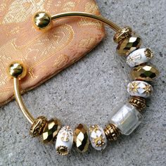 Gold Faberge Bangle OOAK Charm Bracelet Gold by Colbydesigns