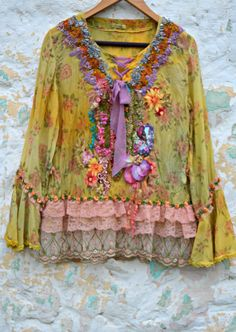 Romantic tunic reworked art to wear fairy gypsy shabby chic tattered altered couture mixed media one of a kind