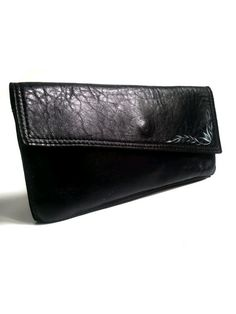 vtg CLUTCH NAVY LEATHER with painted flower by lesclodettes, $32.00