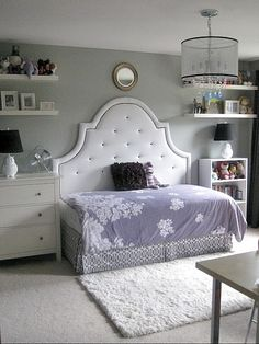 Full headboard with a twin mattress/frame turned longways: a brilliant way to save space in a small room. Perfect for a kid's room, or a guest room. Add an ottoman, and it's a cozy sitting area, too! - cool idea, maybe for evie's big girl room some day! Home Bedroom, Girls Bedroom, Bedroom Decor, Bedroom Ideas, Headboard Ideas, Girls Daybed, Bed Ideas, Bedroom Furniture, Girls Headboard