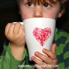 Messy Little Monster: DIY heart scribble mug made by toddlers