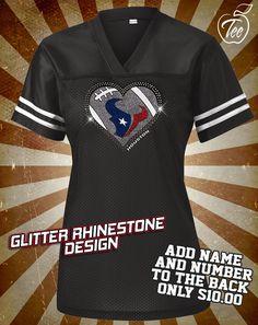 205f99ec1 Houston Texans Rhinestone Glitter Bling JERSEY - Ladies by  MasterPeaceDesigns on Etsy https