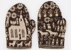 Swedish mittens knitted 1855 - makes me feel somewhat in awe. Fair Isle Knitting, Hand Knitting, Knitting Patterns, Knit Mittens, Mitten Gloves, Textiles, Vintage Knitting, Knitting Projects, Bunt