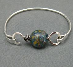 Artisan Sterling Hammered Latch Bangle by stoneandsterling on Etsy