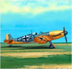 Supermarine Spitfire Mk.Vb 'Messerspit' capturado y pintado queriendo asemejarlo como el Messerschmitt 'CJ + ZY', tal vez sometido a pruebas en Rechlin. Seweryn Fleischer