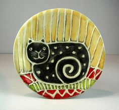 Black cat  on the carpet dish by ceramiquecote on Etsy,