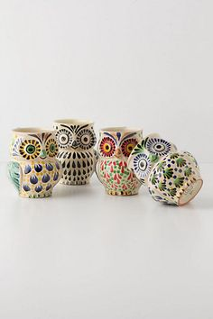 Anthropologie owl mugs