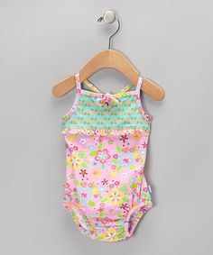 Take a look at this Light Pink Flower Field Bow One-Piece - Infant by i play on #zulily today!