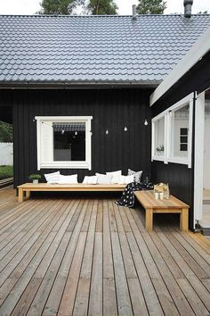 Exterior Paint Colors - You want a fresh new look for exterior of your home? Get inspired for your next exterior painting project with our color gallery. wood house ✔ 50 Best Exterior Paint Colors for Your Home House Design, Terrace Furniture, Home, Outdoor Spaces, House Exterior, Exterior House Colors, Wooden House, Exterior Design, Black House