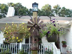freestanding bird feeder hanging flower plant basket post pole solar light hooks