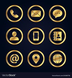 Set of gold business contact icons vector image on VectorStock Design Ios, Icon Design, Logo Design, Flat Design, Contact Icons Vector, Wedding Cards Images, Icones Facebook, We Do Logos, Free Graphic Design Software
