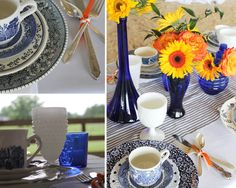 Southern-Vintage-blue-and-white-tablesetting-at-Morgan-View-Farm-Open-House Blue and white tablescape with orange flowers so lovely for a fall wedding