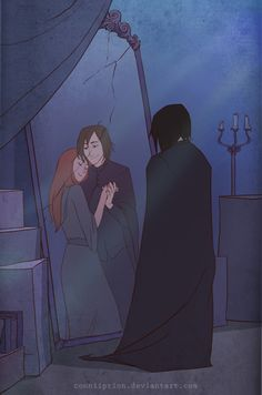 Many fans love to imagine the love relationship between Snape and Lily, Harry's mother, in their fan art and fan fiction.  Portrayed as the bad guy throughout most of the series because of his choices to follow the Dark Arts fans like to reveal this softer side of Snape not readily seen in the novels