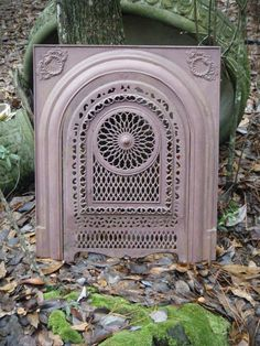 """ANTIQUE CAST IRON INSERT SURROUND WITH ORNATE VICTORIAN SUMMER COVER. SUMMER COVER MEASURES 24 1/2"""" TALL X 16 1/8"""" WIDE. PROBABLY OUT OF AN OLD PLANTATION HOME IN MISSISSIPPI OR LOUISIANA. CAN BE REPAINTED ANY COLOR. 