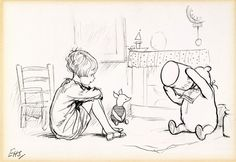 """E.H. Shepard's 1928 preliminary drawing for A.A. Milne's """"The House at Pooh Corner"""""""