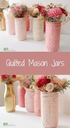 """These beautiful quilted mason jars can be used for an array of household items. They are great for fresh flowers and water, utensils, and candy!  This listing is for 3 jars. These colors are blush, cream and bubblegum. Jars are 5 3/4"""" tall and opening is 2"""" wide. All jars come with lids. 