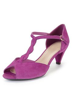 57b7ba823c01a6 Fuchsia Suede Wide Fit Stiletto Mid Heel Twist T-Bar Sandals with Stain Away ™