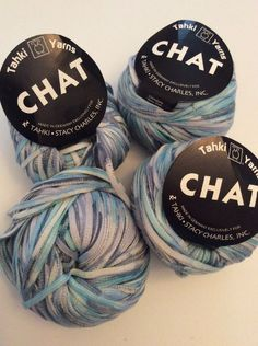 Lot of 4 Tahki Yarn Chat Ribbon Tape Blue Variegated Cotton Stacy Charles 01 | eBay