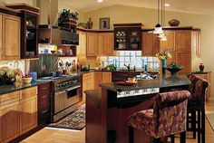 Image result for light maple cabinets with dark trim