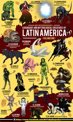 Give me Latinx Cryptids in adult or young adult fantasy! Mythological Monsters of Latin America, Volume One! Mythological Monsters, Mythological Creatures, Beltaine, World Mythology, Myths & Monsters, Legends And Myths, Cryptozoology, Urban Legends, Magical Creatures