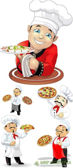 Chef Pictures, Scrapbook Recipe Book, Cartoon Chef, Sushi, Cute Clipart, Le Chef, Decoupage Paper, Kids Nutrition, Magic The Gathering