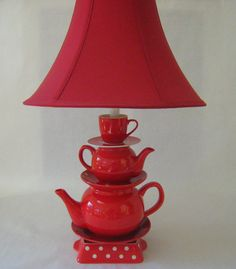 Teapot Lamp, Red Teapots Tea Cup and Saucer with Polka Dots  Country Cottage