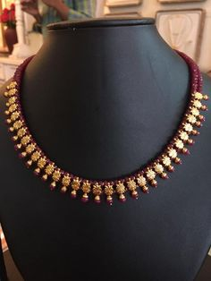 ruby and emerald beads necklace design Gold Earrings Designs, Gold Jewellery Design, Bead Jewellery, Necklace Designs, Beaded Jewelry, Jewelry Necklaces, Beaded Necklace, Gold Necklace, Pretty Necklaces