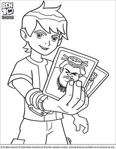 Ben 10 Coloring Page Ben Is Running Down The Stairs