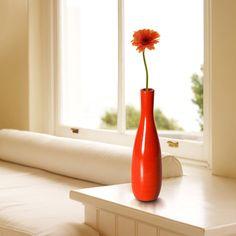 Adeco Decorative 13-inch Red Slim Neck Wood Vase