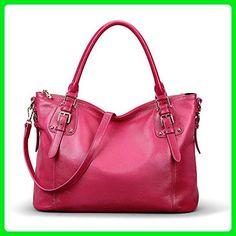 Kattee Women's Vintage Genuine Soft Leather Tote Shoulder Bag (Rose, Large) - Totes (*Amazon Partner-Link)