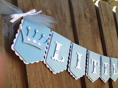 Little Prince royal flag banner in blue pearl and by glittermama, $23.95