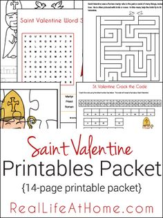 Saint Valentine themed 14-page printables and worksheets packet from RealLifeAtHome.com
