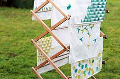 Potato Stamls-- 17 DIY Tea Towels to Up Your Kitchen's Style Game via Brit + Co.