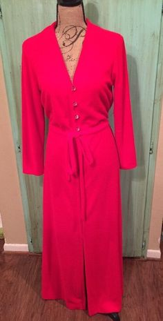 Vintage 70 s VANITY FAIR House Coat Robe Womens Size S Red Long  ff749751b