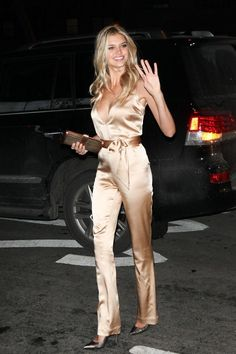 We'd like to see the pants hemmed a little higher but she still looks fabulous Satin Jumpsuit, Silk Satin Dress, Satin Dresses, Hot Outfits, Fashion Outfits, Kelly Rohrbach, Gold Fashion, Womens Fashion, Silk Romper