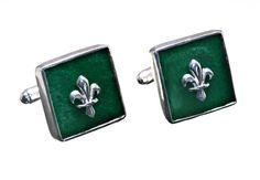 Jade Fleur de Lys Cufflinks Heraldic Genuine Gemstone by Regnas