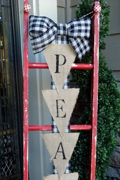 SALE ITEM Distressed red christmas ladder by Huelabdesigns on Etsy